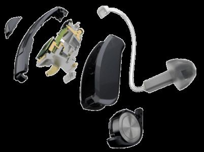 Explosionsansicht eines Ex- | Ric- Hinter-dem-Ohr-Hörgerät
